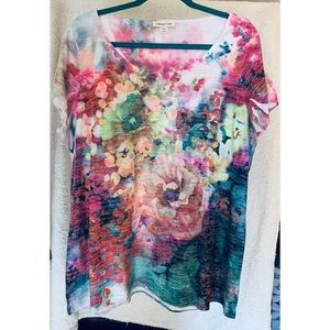 Coldwater Creek Double Layered Floral Short Sleeve